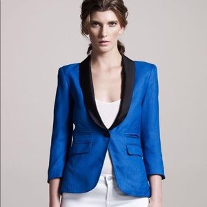 SMYTHE Satin Lapel Linen Tuxedo Blazer Size 4